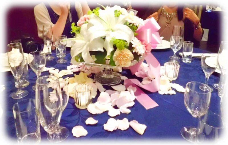 結婚式 テーブルコーディネート ネイビー